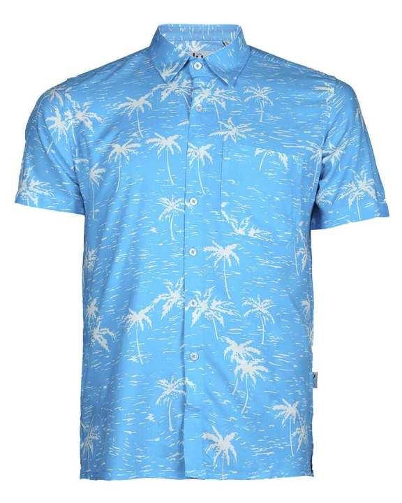 Viscose Casual Short Sleeve Shirt - Aquamarine Print