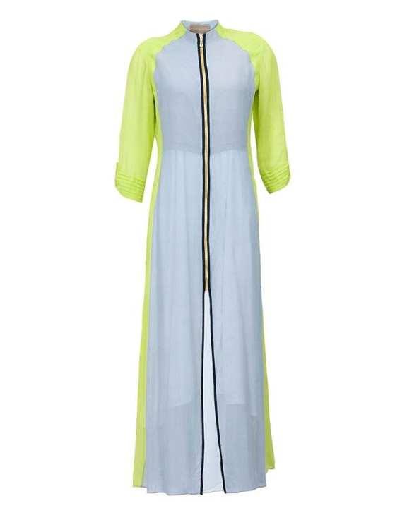 Ash and Parrot Green Linen Kurti for Women (Tailor Made)