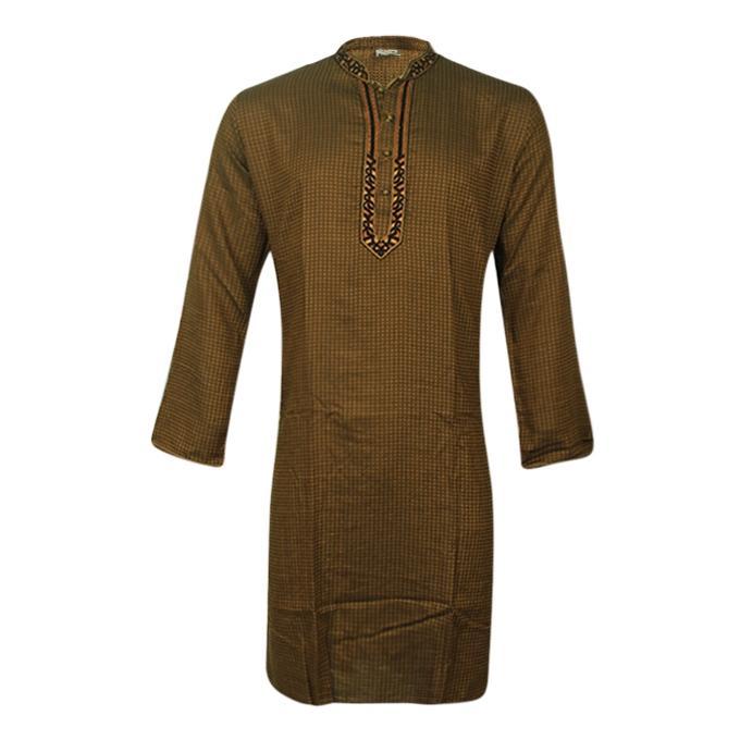 Brown Cotton Panjabi For Men
