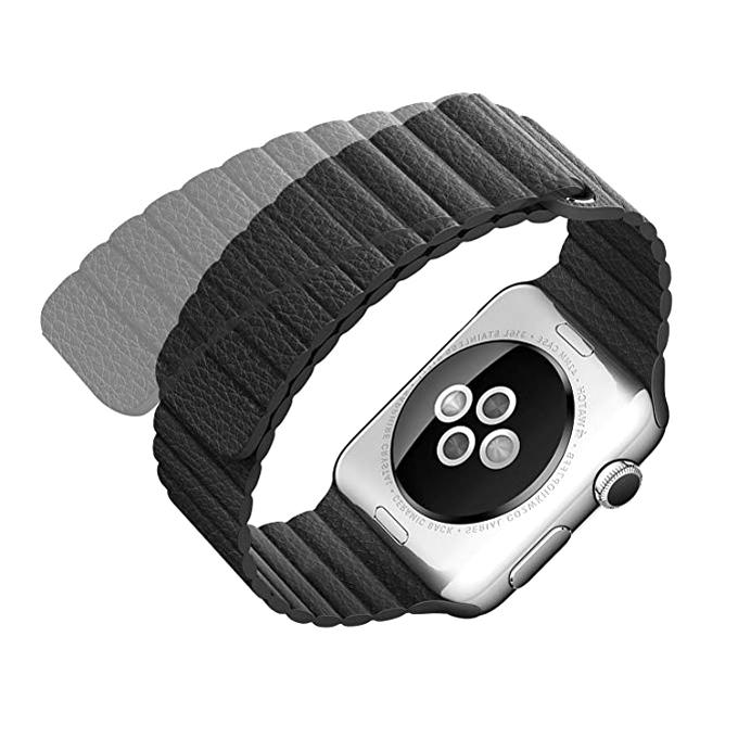 Genuine Leather Strap with Magnet Lock for Apple Watch  1/2/3 38mm - Black