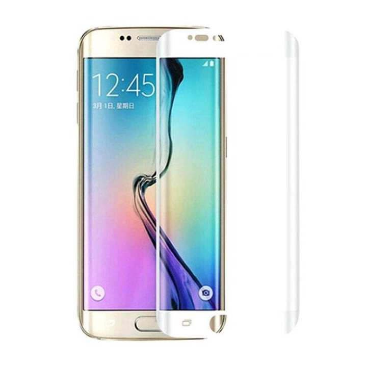 Full Coverage Curved Tempered Glass for Galaxy S6 Edge - White