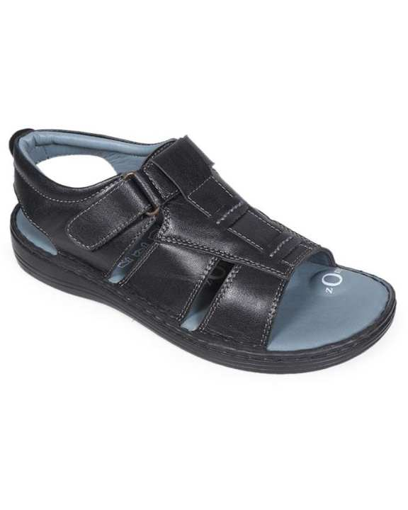 Dr.Mauch Black Smooth Leather Casual Sandal for Men