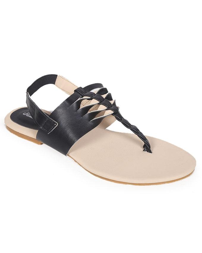 Sandra Rosa Black Smooth Leather Casual Sandal for Women