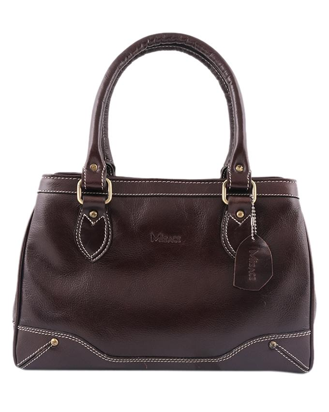Misace Leather Hand Bag For Women - Dark Brown