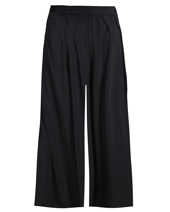Lycra Spandex Casual Flared Pleated Palazzo - Black