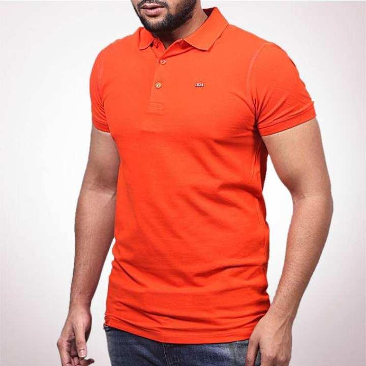 Deep Orange Cotton Polo For Men