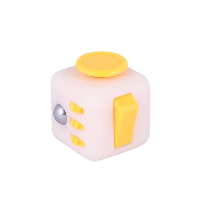 Fidget Cube Relieves Stress & Anxiety - Yellow and White
