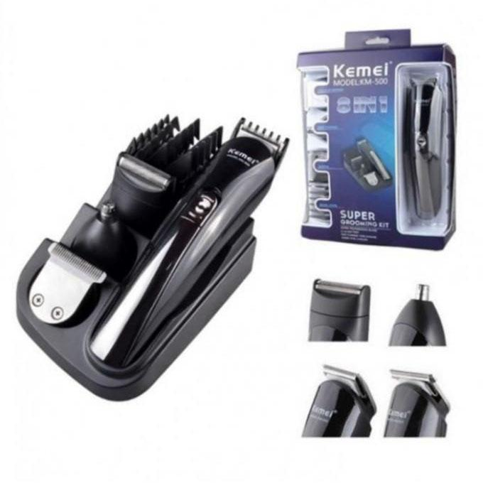 KM-500 8 in 1 Professional Multifunction Rechargeable Electric Hair Clipper - Black