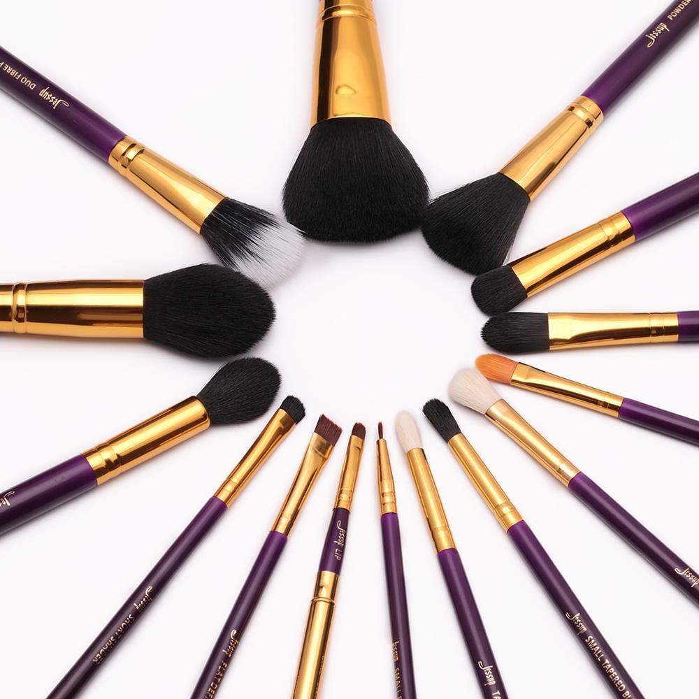 T095 15 PCs Essential Series Brush Set - Purple and Golden