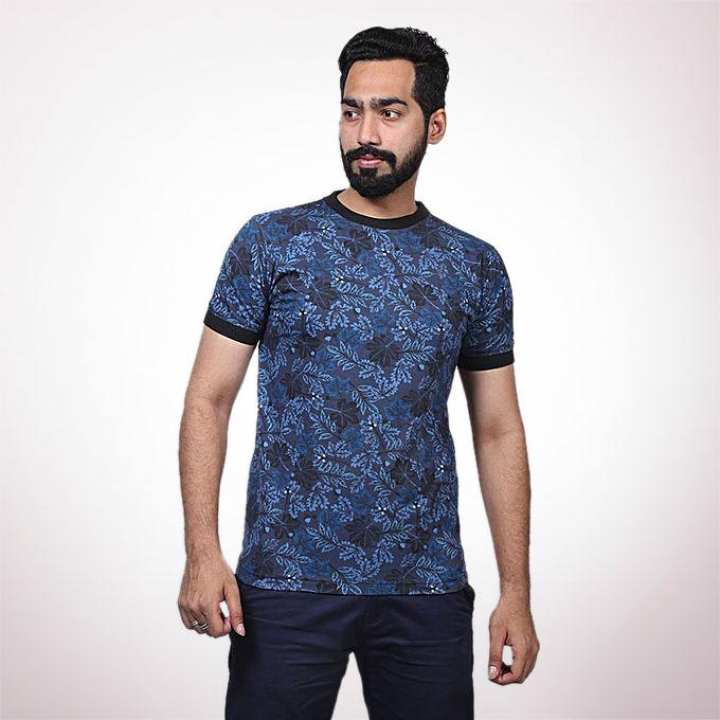 Navy Cotton Casual T-Shirt for Men