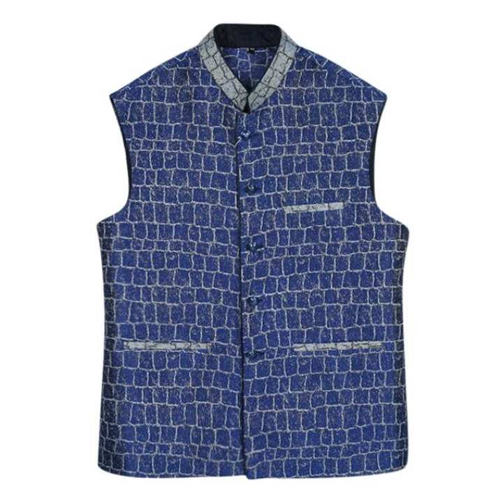 Blue  Silk Sleeveless Koti For Men