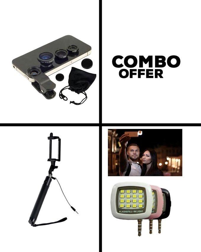 Combo Pack Universal Clip-on Lens and Selfie Stick and LED Flash Light