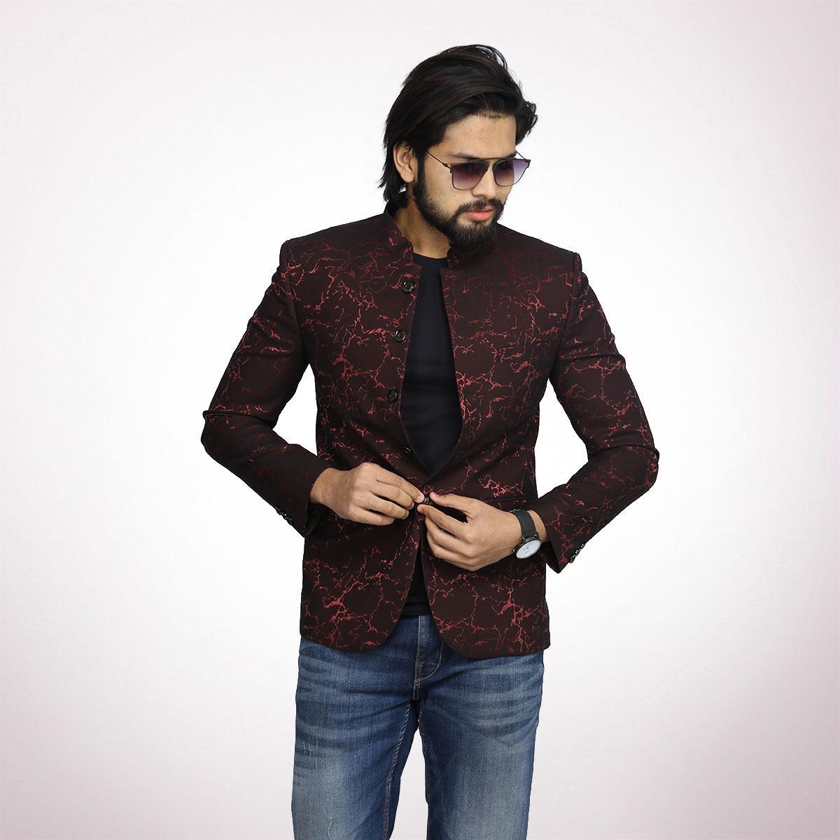 acaf95079 Maroon Jacquard Lining Prince Coat For Men