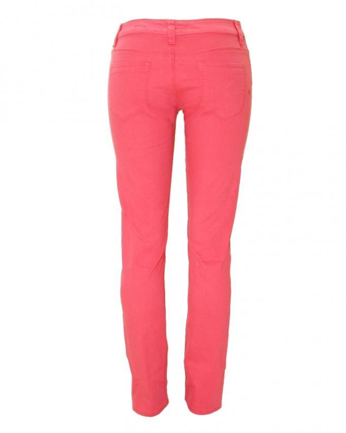 Pink Slim Fit Gaberdine Pant  for Women