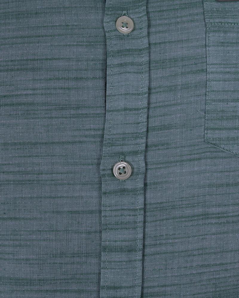 Linen Casual Long Sleeve Shirt - Deep Aqua