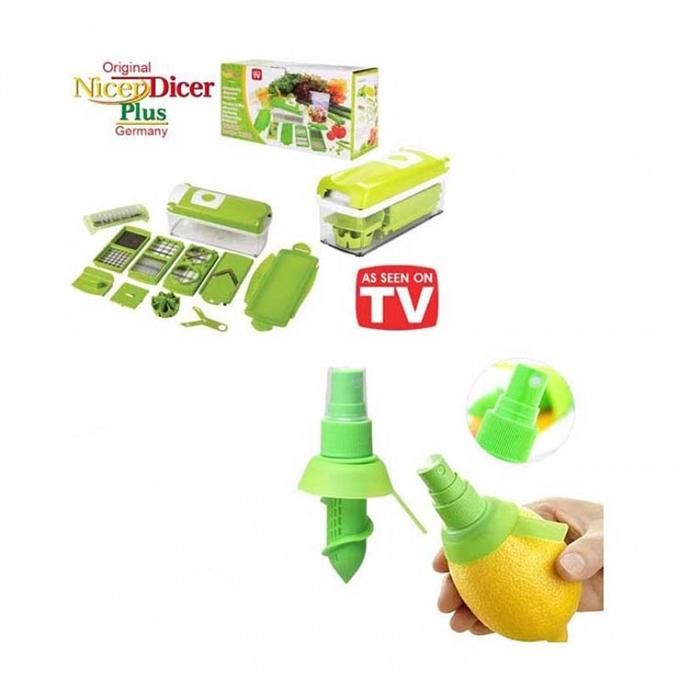 Combo of Nicer Dicer and Juice Sprayer - Multi- Color