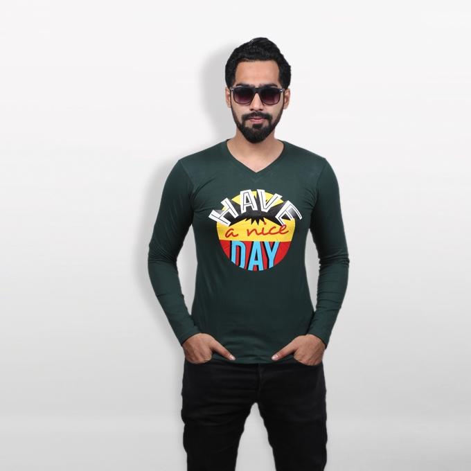 """""""HAVE A NICE DAY"""" Forest Green Cotton T-Shirt For Men"""