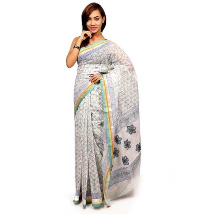 White Cotton Saree For Women