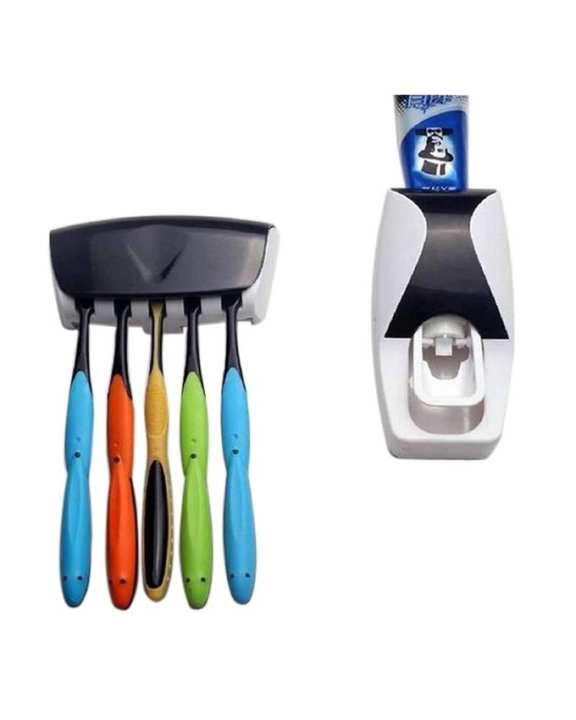 Auto Toothpaste Dispenser with Toothbrush Holder - White & Black