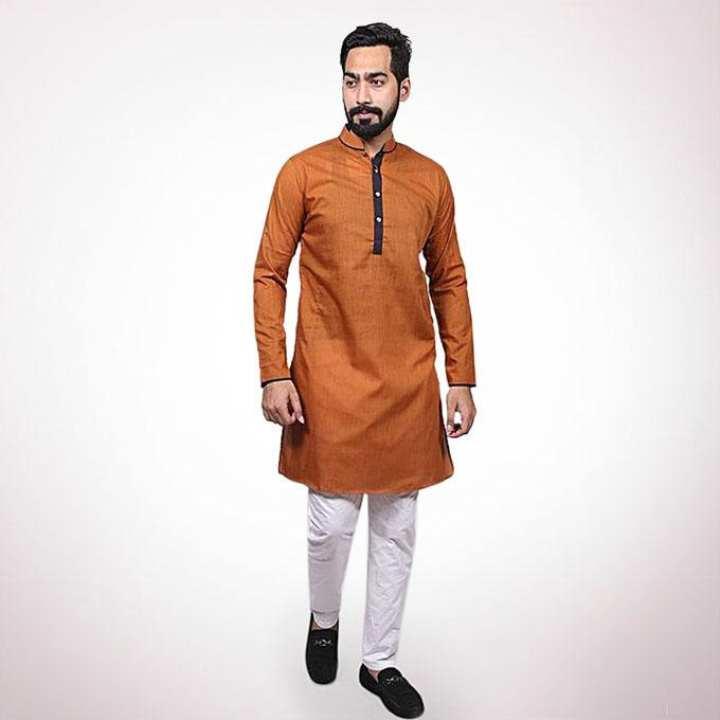Dark Orange Cotton Casual Panjabi for Men