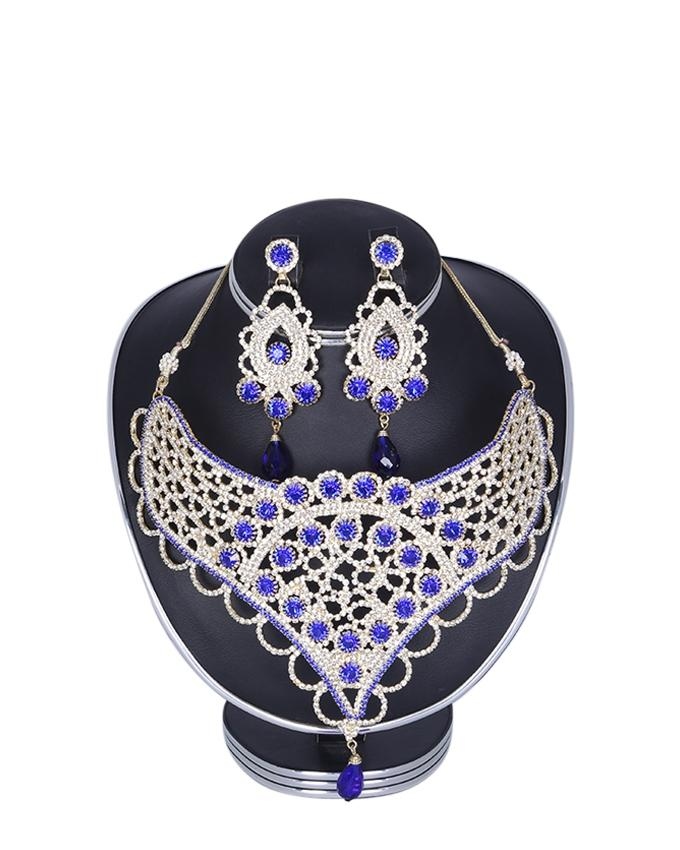Diamond Cut Jewellery Set For Women - White and Blue