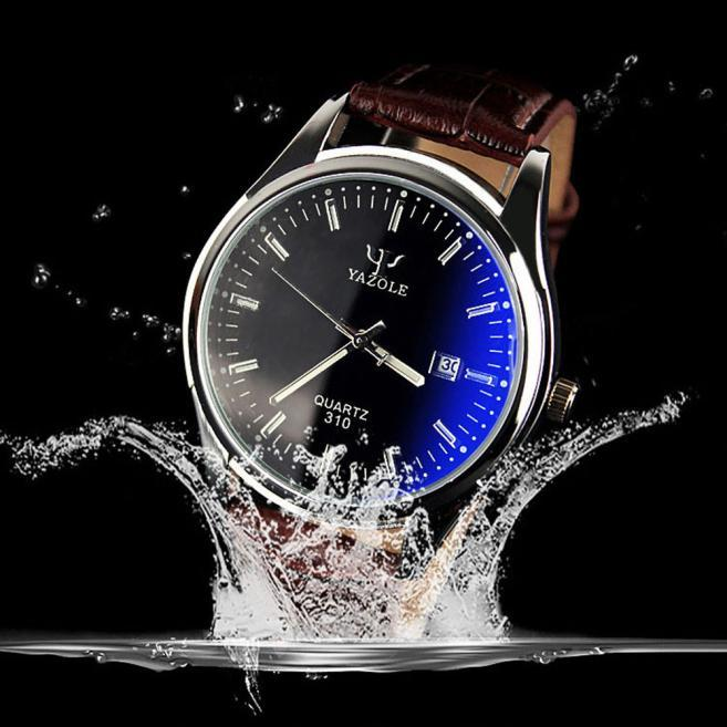 Mens Waterproof Date Leather Blue Ray Glass Quartz Analog Watches BW