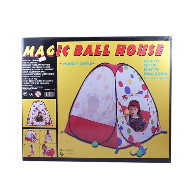 Plastic Magic Ball House For Kids - White and Red