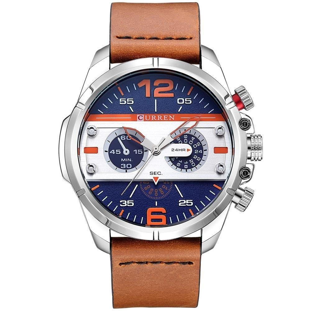 C8259 Leather Chronograph Watch For Men - Brown