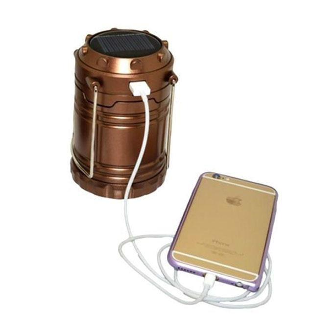 Rechargeable Lantern Solar Light With Power Bank- Golden