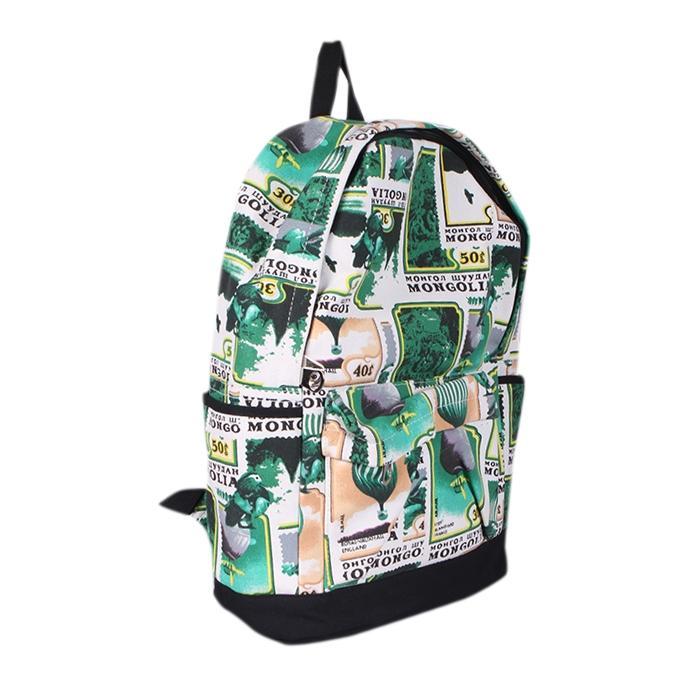 Green Polyester Backpack For Men