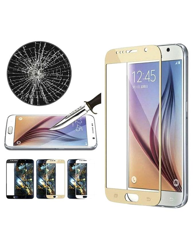 Full Coverage Tempered Glass Screen Protector for Galaxy A7 2017 - Gold - Transparent