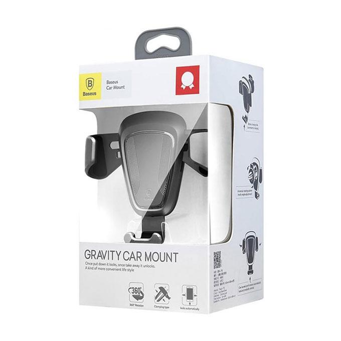 Gravity Car Mount Air Vent Phone Holder Stand - Silver