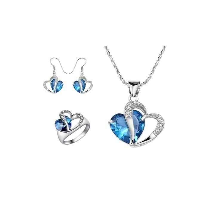 Silver And Blue Crystal Jewellery Set For Women
