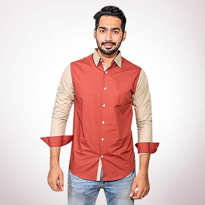 Cotton Casual Long Sleeve Shirt - Khaki and Tan