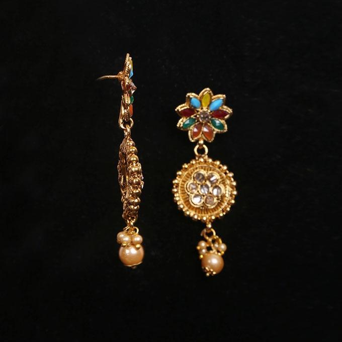 Multi Color Kopar And Stone Jewellery Set For Women