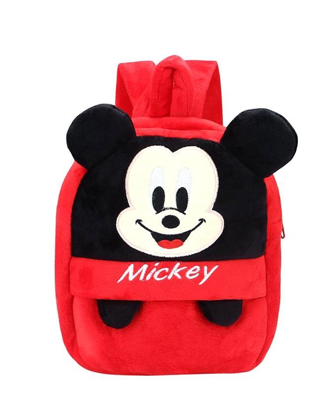 Velvet School Bag For Baby - Red and Black