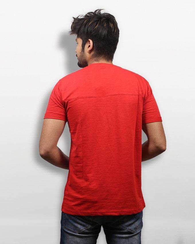 Red Cotton Casual Short Sleeve T-shirt for Men