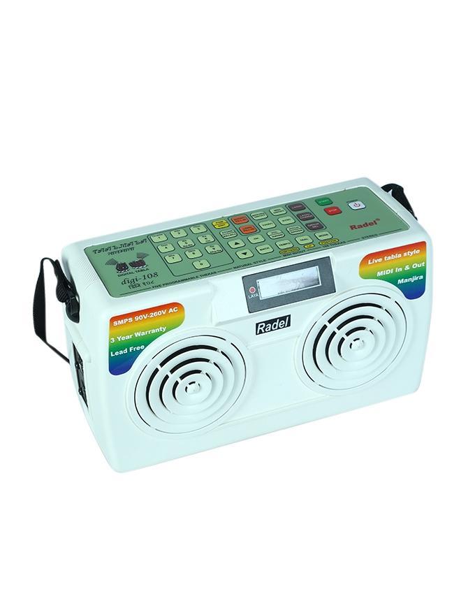 Electronic Tabla - RADEL Taalmala - Digi 108, Electronic Tabla and Manjira - Tabla Sampler, DJ Tabla Sound Machine, Instruction Manual, Power Cord, Bag (PDI-AAF)