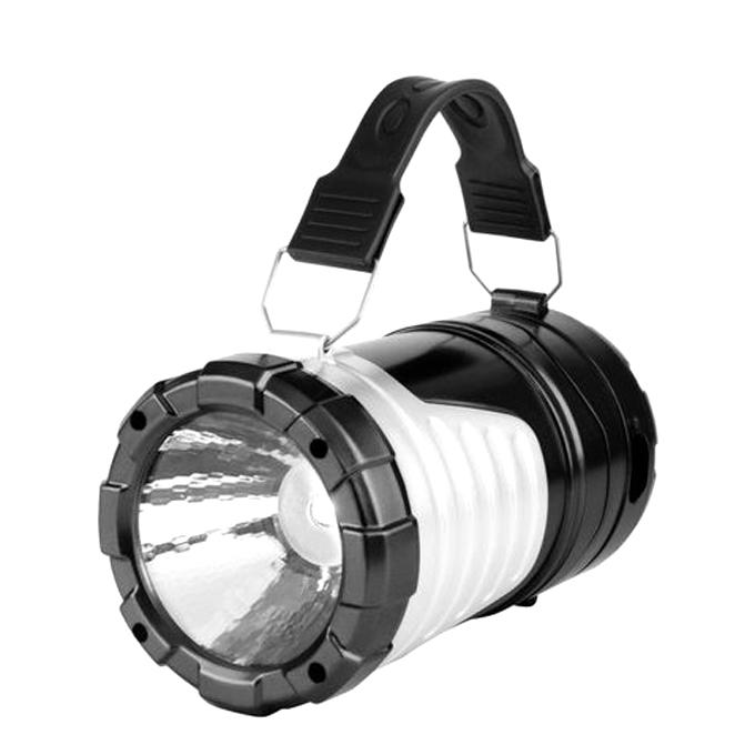 Portable Outdoor Survival LED Solar Rechargeable Flashlight - Black And White