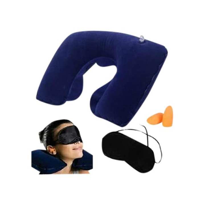 3 In 1, Travel Selection - Neck Pillow, Earplug, Eye Cover - Navy Blue