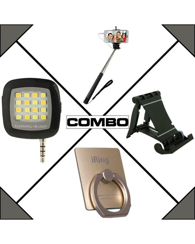 Combo of Selfie Stick, Mobile Stand, Flash Light and Ring Stand