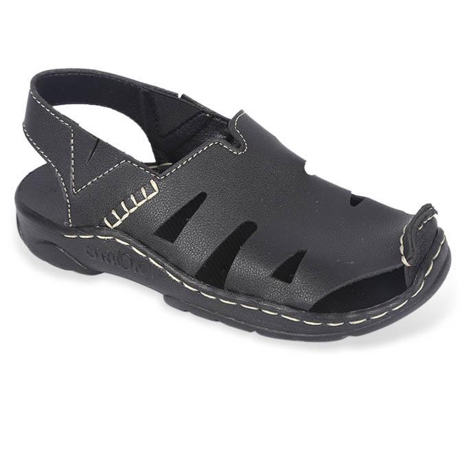 Black Leather Sandal for Boys