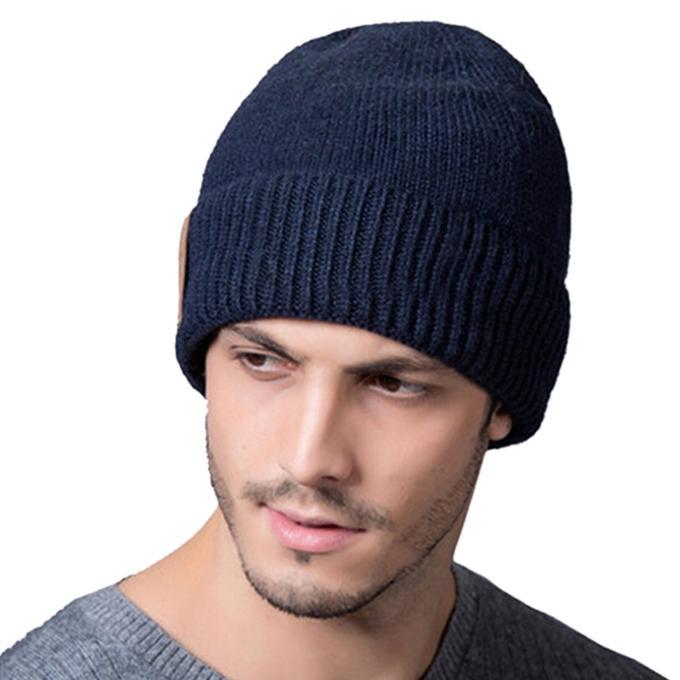 4673c7b79 Navy Blue Cotton Winter Cap For Men