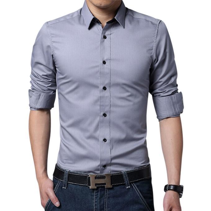 Gray Cotton Formal Shirt For Men