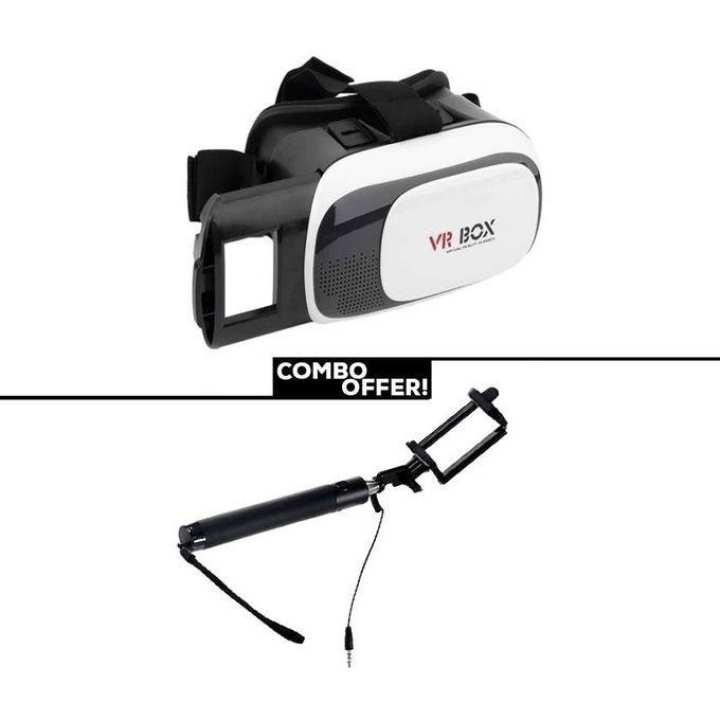 Combo of 3D Glasses VR BOX with Selfie Stick - Black and White