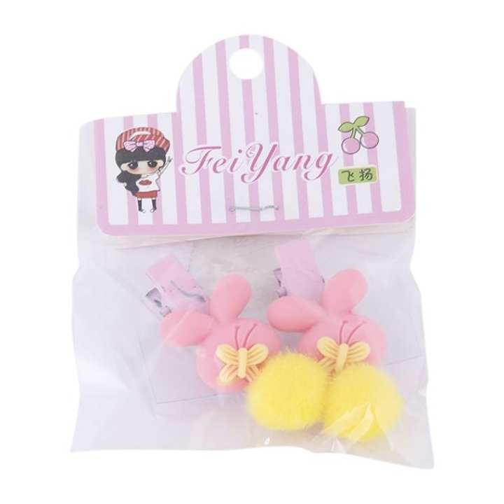 Light Pink and Yellow Hair Clip For Girls