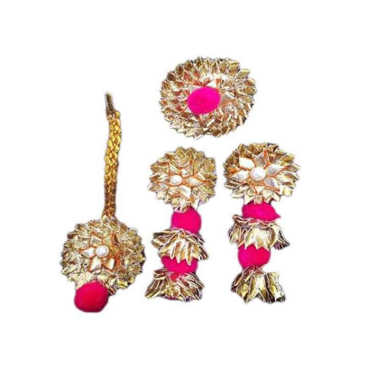 Golden and Magenta Jewellery Set For Women