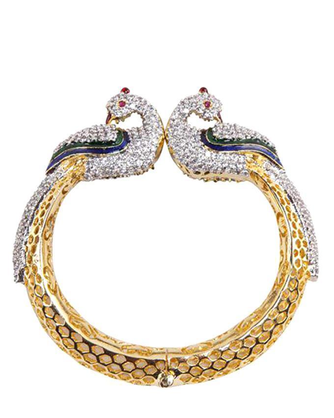 Golden Body Diamond Cut AD Bracelet - Multi Colour