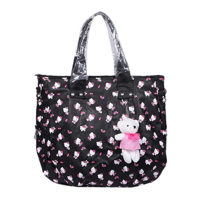 Black Polyester Shoulder Bag for Women