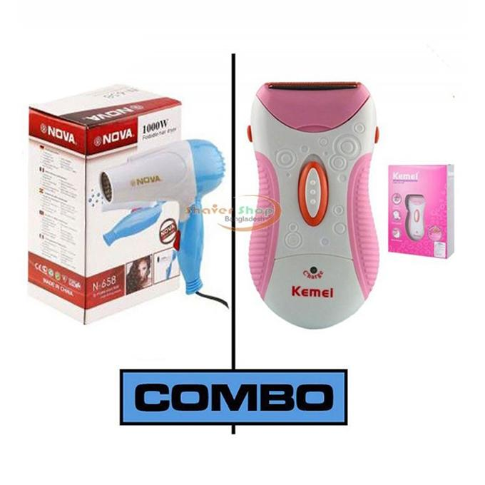 Combo of N-662 Hair Dryer and KM-1187 Shaver - Pink and White